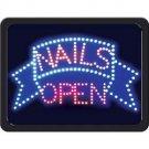 NEW! NAILS/OPEN PROGRAMMED LED SIGN LIGHTS ILLUMINATED SALON FREE SHIPPING!