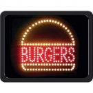 BURGERS PROGRAMMED LED SIGN HAMBURGER FAST FOOD RESTAURANT STORE FREE SHIPPING!