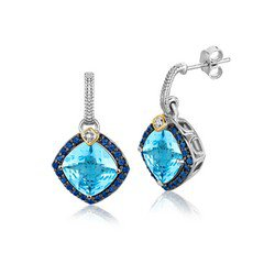 NEW! 18K Yellow Gold & Sterling Silver Blue Tone Multi Gem Earrings .44 ct. tw.