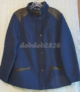 Denim & Co. Quilted Jacket with Faux Leather Trim 1X