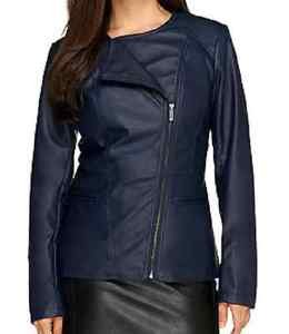Dennis Basso Faux Leather Asymmetric Zip Peplum Jacket  X-LARGE
