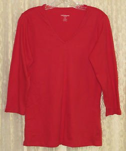 Liz Claiborne New York Essentials V-Neck 3/4 Sleeve Top LARGE