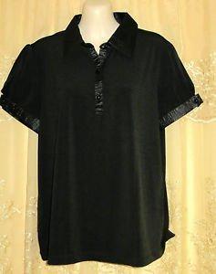 Dialogue Short Sleeve Knit Shirt with Satin Trim MEDIUM