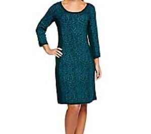 Isaac-Mizrahi-Live-Scoop-Neck-Animal-Jacquard-Sweater-Dress-LARGE