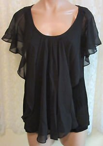 SLINKY BRAND SLEEVELESS TOP WITH CHIFFON OVERLAP X-SMALL