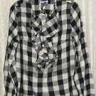 Isaac Mizrahi Live! Buffalo Plaid Button Front Blouse  X-SMALL (52.00 value)
