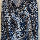 George Simonton Animal Print Milky Knit Top w/Chain Detail MEDIUM