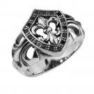 Sterling Silver Fleur De Lis Shield Ring w/ Black CZ Stone sizes 8 to 12(TR127)
