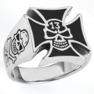STAINLESS STEEL 316L IRON CROSS WITH SKULL IN THE MIDDLE RING, SIZE 14 (SSR89)