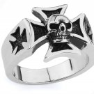 STAINLESS STEEL 316L MEN IRON CROSS RING, SIZE 14 (SSR91)