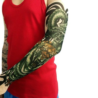 1 Pcs Free Size Tiger Tattoo Design Bicycle Arm Oversleeves Long Cycling Sleeves (OU0081601)