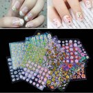 3D Floral Design Nail Art Stickers Decals 30 Sheet Mix color Manicure (TOM-H11541)