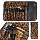 12 Pcs Professional Make Up Brush Kit With Leopard Bag Beauty Tools