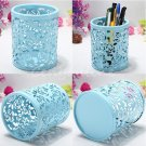 Blue Cylinder Pencil Pen Pot Holder Container Organizer