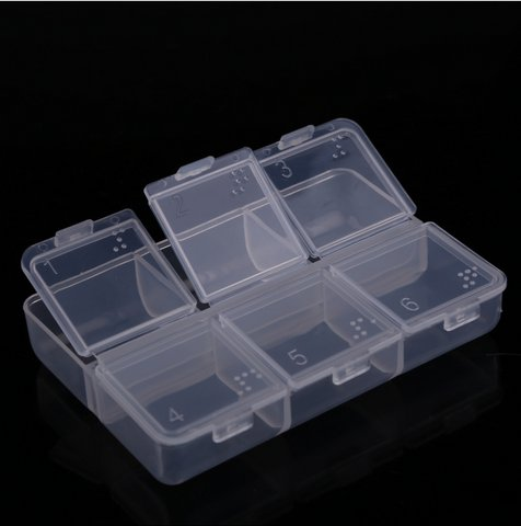 New Empty Pill Medicine Drug Storage Case Box 6 Cells(BICP004708)