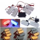 2 X 22LED (Red + Blue )LEDs Strobe Emergency Flashing Warning Grill Strobe Light Lamp(BICP053510)