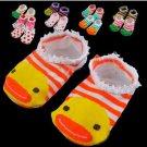 2 Pair Cute Baby Kids Toddler Ankle Socks Non-slip Booties Random Color  (BICP003589)