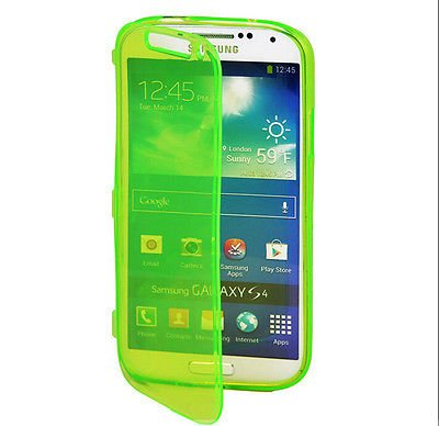 Green Flip TPU Skin Gel Silicone Case Cover For SAMSUNG GALAXY S4 i9500(251635358017)