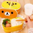 2 Tier Rilakkuma Relax Bear Lunch Box Bento High Heat Resistance Free Chopsticks