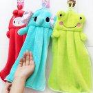 1 Pcs Blue Hand Towel Soft Plush Fabric Cartoon Animal Hanging Wipe Bathing Towel (261652190905)