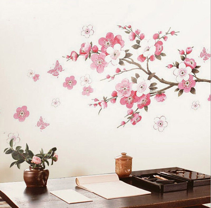 Cherry Peach Blossom Flower Butterfly Removable Wall Sticker Wall Decor  (261590443895)