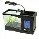 Beautiful USB Desktop Aquarium Fish Tank with LED Light Alarm clock and Calendar(390495610974)