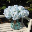 8 Pcs Blue Wedding Bridal Party Artificial Hydrangea Bouquet Silk Flowers Leaf (131247833439)