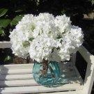 8 Pcs White Wedding Bridal Party Artificial Hydrangea Bouquet Silk Flowers Leaf (131247833439)