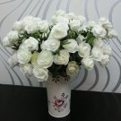 1 Pcs (6 Rose Head) White Artificial Flowers Silk Rose Bouquet Home Decor (251757596084)