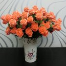 1 Pcs (6 Rose Head) Orange Color  Artificial Flowers Silk Rose Bouquet Home Decor (251757596084)