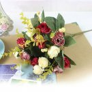 Red Color 1 Bouquet 21Head Artificial Peony Silk Flower Leaf (121351068581)