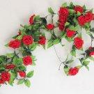 1 Strip Red Artificial Silk Rose Flower Hanging Garland Wedding Home Decor (371040802810)