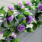 1 Strip Purple Artificial Silk Rose Flower Hanging Garland Wedding Home Decor (371040802810)