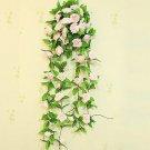 1 Strip Pink Artificial Silk Rose Flower Hanging Garland Wedding Home Decor (371040802810)