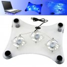 USB Laptop Notebook Cooling Cooler Pad 3 Built-in Fans with Blue LED(171609325509)