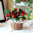 1 Pcs Artificial 9 heads beaded styrofoam crimson wild strawberry flower home decor (291216781354)