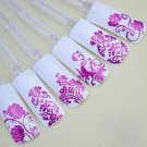 108PCS/Sheet Hot Pink 3D Flower Decal Stickers Nail Art Tip stamping Manicure (380980709985)