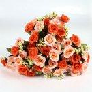 4 Bouquet Orange Color Fake Silk Rose Flower Leaf Artificial Home Wedding Decor (141564154254)