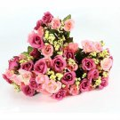 4 Bouquet Pink Color Fake Silk Rose Flower Leaf Artificial Home Wedding Decor (141564154254)