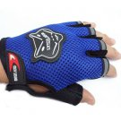 Blue Bicycle Bike Fitness Anti Slip Half Finger Exercise Workout Sport Gloves(BICP049223)