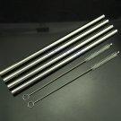 4pcs Straight Metal Stainless Steel Drinking Straws + 2 Cleaner Brush
