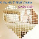 100 Pcs Golden 2x2cm 3D Wall Sticker Mosaic Mirror Effect Living Room Decor