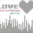 100 Pcs Silver 2x2cm 3D Wall Sticker Mosaic Mirror Effect Living Room Decor