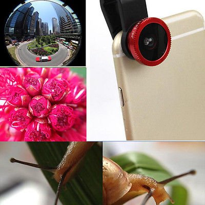 3in1 Fisheye+ Wide Angle + Macro Camera Clip Lens For Galaxy iPhone LG Red