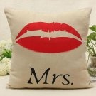 Mrs Lips Simple Pillow Cases Home Decorative Cushion Cover Square