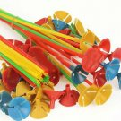 100pcs Plastic Balloon Multicolor Holder Sticks Cup Wedding Party Decoration 10""