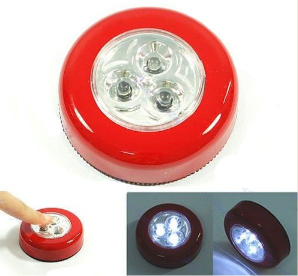 Red Mini 3 LED Cordless Battery Powered Stick Tap Touch Lamp Home Night Light Bulb