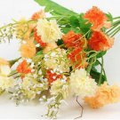 Orange Artificial Chrysanthemum Carnation 23 Head Flower Bush Bouquet Home Wedding(291193054339)