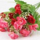 Burgundy Artificial Chrysanthemum Carnation 23 Head Flower Bush Bouquet Home Wedding(291193054339)