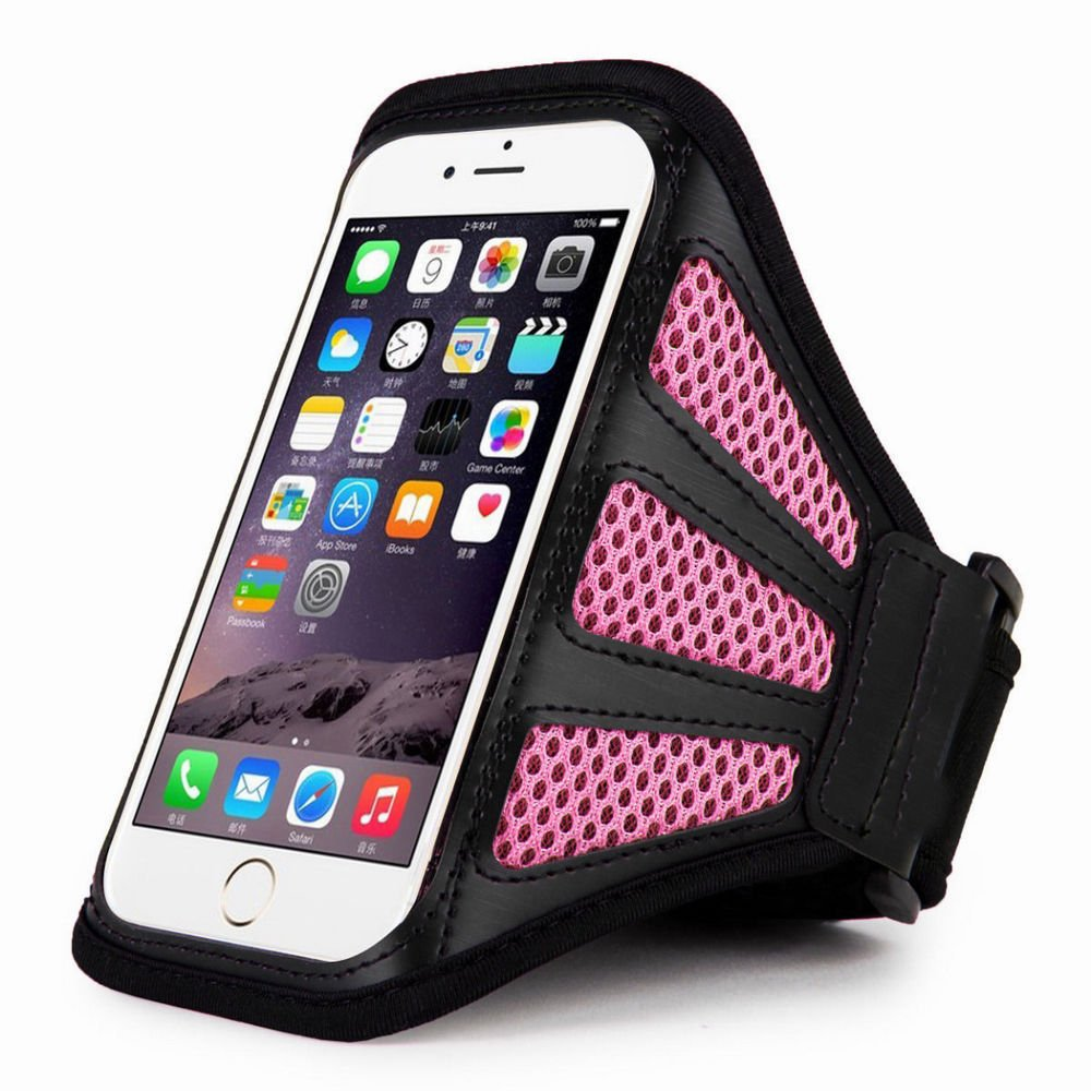 """Pink For iPhone 6 Plus 5.5"""" Sports Running Cycling Mesh Armband Phone Case Cover"""